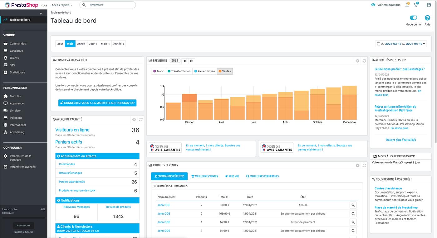 Dashboard de la solution e-commerce Prestashop